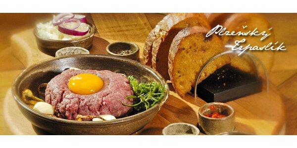 Tatarák z 500 g hovězího masa + 20 topinek