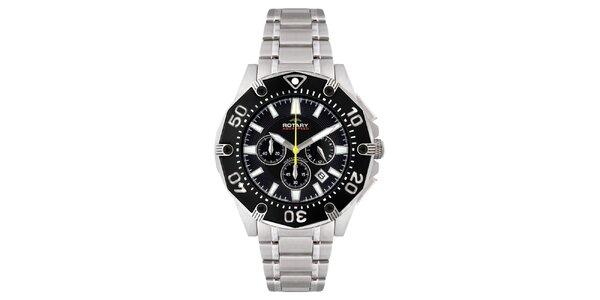 Pánské stříbrné hodinky s černým ciferníkem a chronografem Rotary