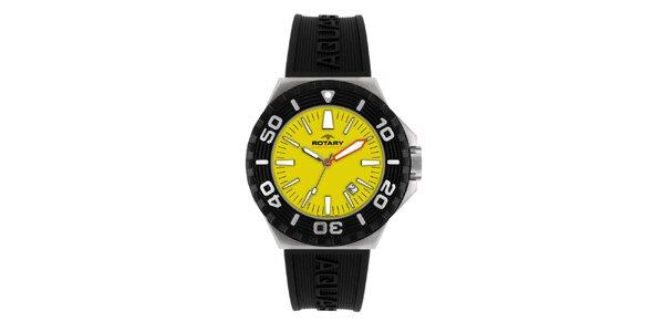 Pánské černé analogové hodinky se žlutým ciferníkem Rotary