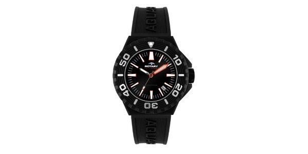 Pánské černé analogové hodinky s oranžovými akcenty Rotary