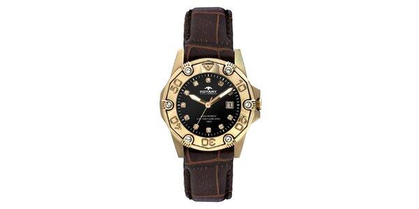 Dámské pozlacené analogové hodinky s koženým řemínkem Rotary