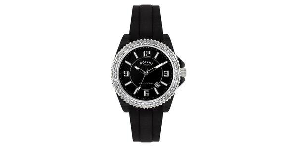 Dámské černé analogové hodinky s krystaly Rotary