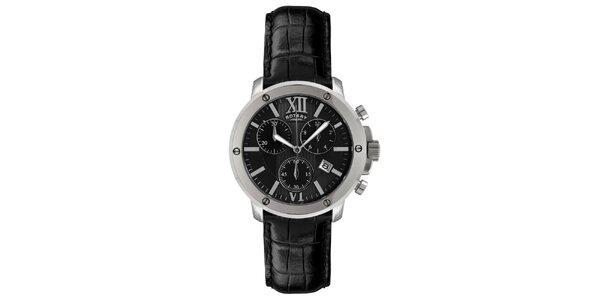 Pánské černo-stříbrné analogové hodinky s chronografem Rotary