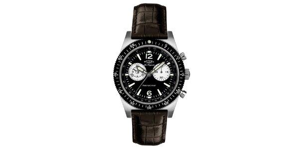Pánské černo-hnědé hodinky s chronografem Rotary