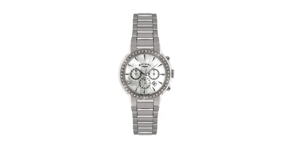 Dámské stříbrné kulaté hodinky s chronografem Rotary