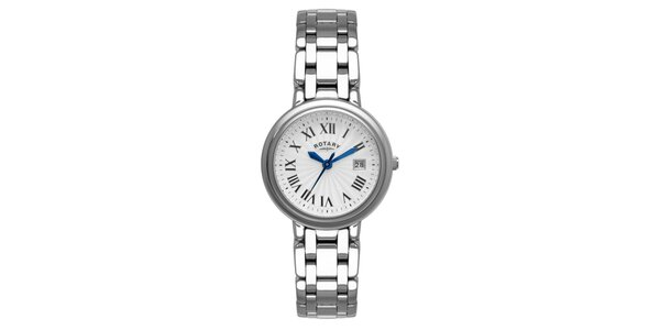 Dámské ocelové analogové hodinky Rotary s modrými ručičkami