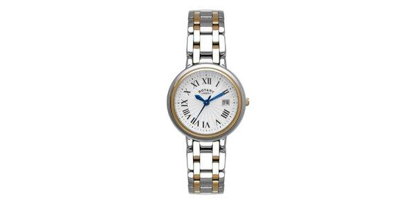 Dámské ocelové stříbrno-zlaté hodinky Rotary s modrými ručičkami