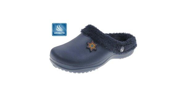 Dámské temně modré pantofle Beppi s vnitřním kožíškem