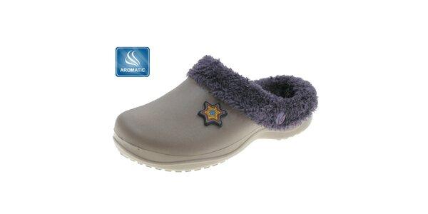 Dámské šedo-béžové pantofle Beppi s vnitřním kožíškem