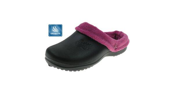 Dámské černé pantofle Beppi s vnitřním kožíškem
