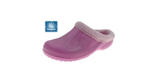 Dámské růžové pantofle Beppi s vnitřním kožíškem