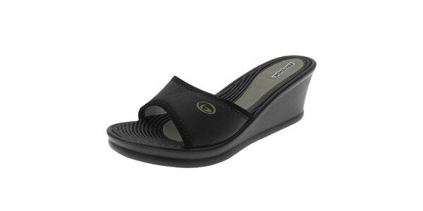 Dámské černé pantofle s khaki logem Beppi