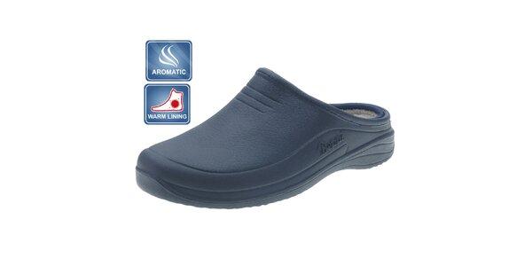 Dámské petrolejově modré pantofle Beppi s vnitřním kožíškem