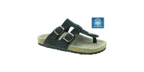 Dámské šedo-černé kožené pantofle Beppi