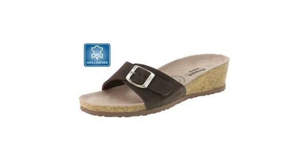 Dámské hnědé kožené pantofle Beppi