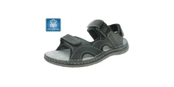 Pánské šedo-černé kožené sandále Beppi