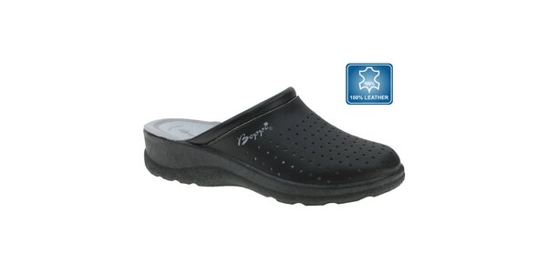 Dámské černé pantofle s plnou špičkou Beppi