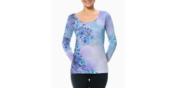 Dámské fialovo-modré tričko s květinovým rukávem Smash