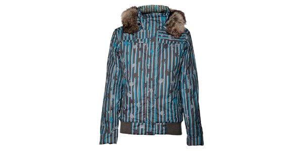 Dámská modro-šedá bunda Loap s kožešinou a potiskem