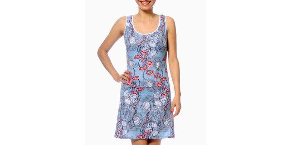 Dámské světle modré šaty s pavími pery Smash