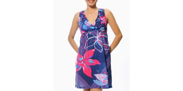 Dámské modro-fuchsiové šaty s květinami Smash