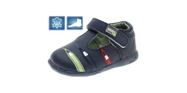 Dětské modré kožené boty Beppi