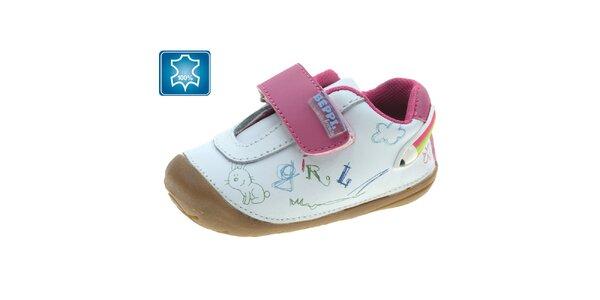 Dívčí bílé botky s růžovou přezkou Beppi