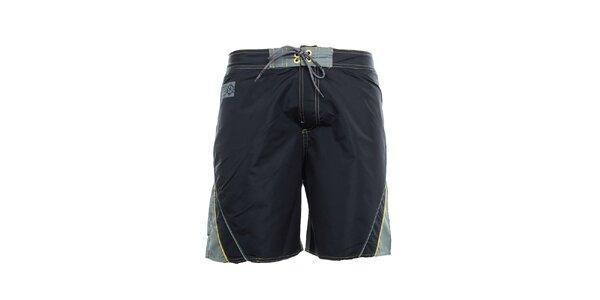 Pánské černo-šedé kraťasy se žlutými detaily Exe Jeans