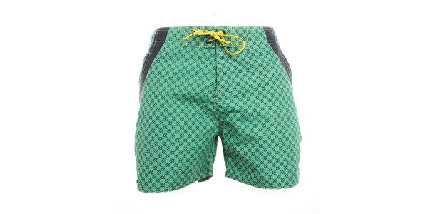 Pánské zelené vzorované plavkové kraťasy Exe Jeans
