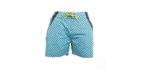 Pánské modré vzorované plavkové kraťasy Exe Jeans
