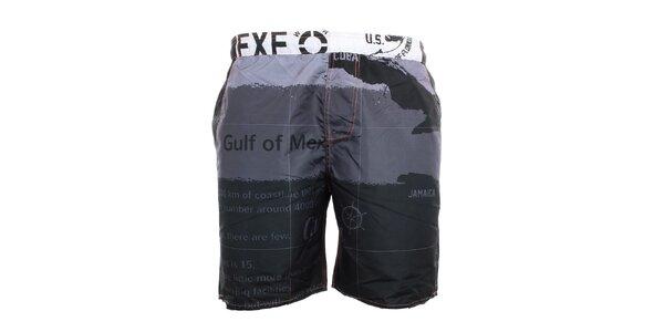 Pánské černo-šedé plavkové kraťasy Exe Jeans