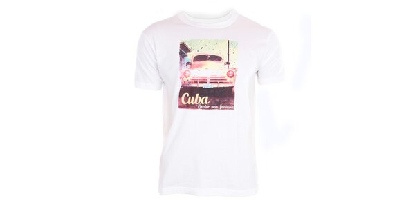 Pánské bílé tričko s kubánským motivem Exe Jeans