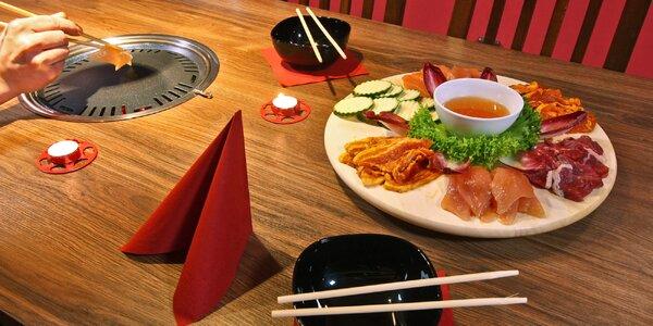 Korejské BBQ: 3 druhy masa, krevety i příloha