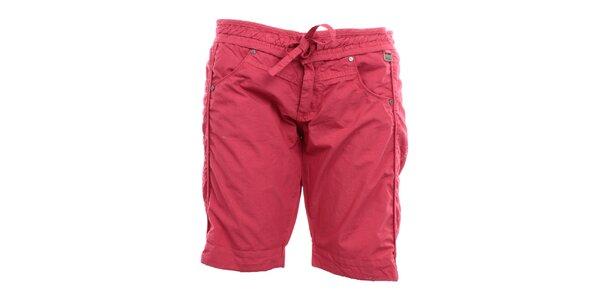 Dámské tmavě růžové kraťasy s mašlí Exe Jeans