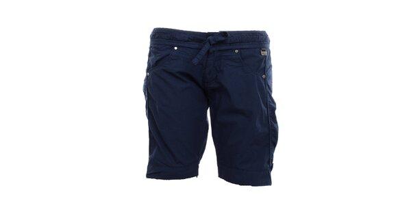 Dámské petrolejově modré kraťasy s mašlí Exe Jeans