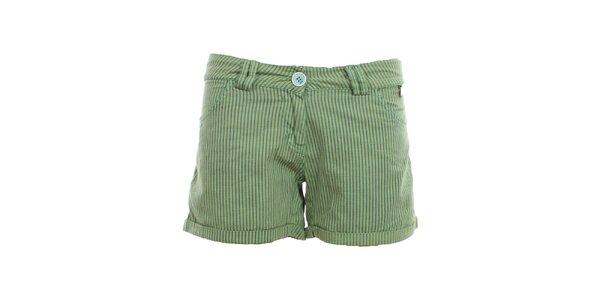 Dámské pruhované zelené kraťasy Exe Jeans