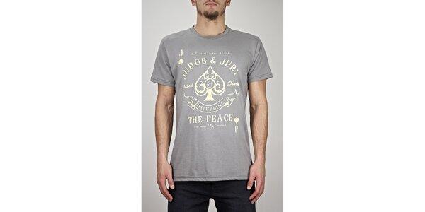 Pánské šedé tričko s potiskem Judge&Jury