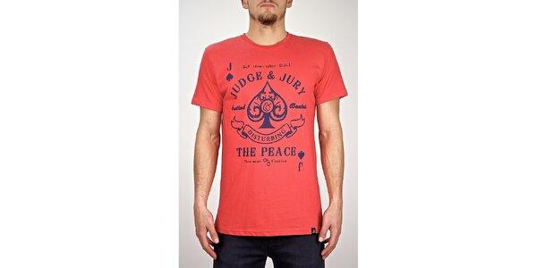 Pánské červené tričko s potiskem Judge&Jury