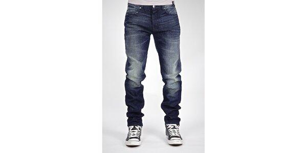 Pánské tmavě modré džíny s bílým šisováním Judge&Jury