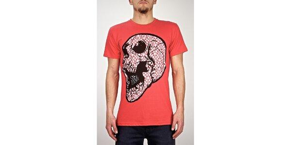 Pánské červené tričko s lebkou Judge&Jury