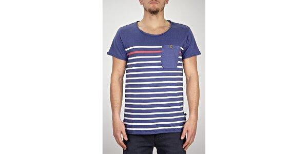 Pánské modro-fialové pruhované tričko s kapsou Judge&Jury
