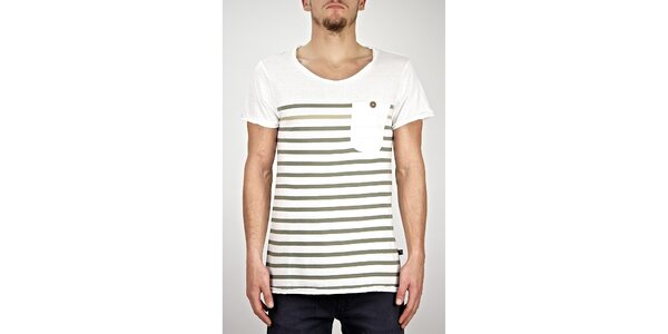 Pánské bílé pruhované tričko s kapsou Judge&Jury