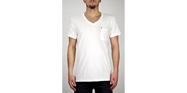 Pánské bílé tričko s véčkovým výstřihem Judge&Jury