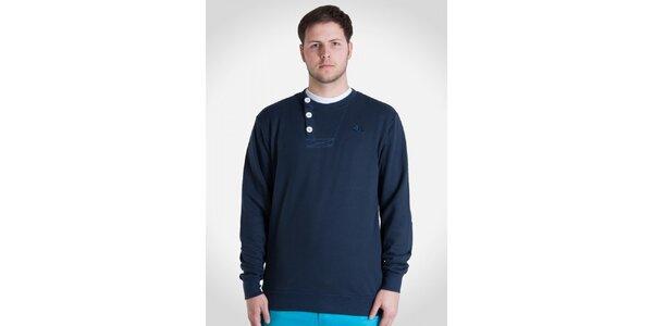 Pánská námořnicky modrá mikina s knoflíky Skank