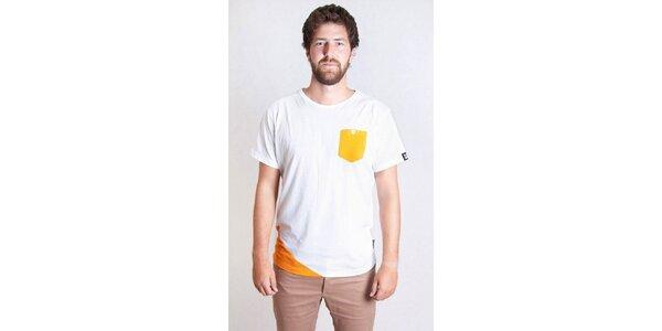 Pánské bílé tričko s oranžovou kapsičkou Skank