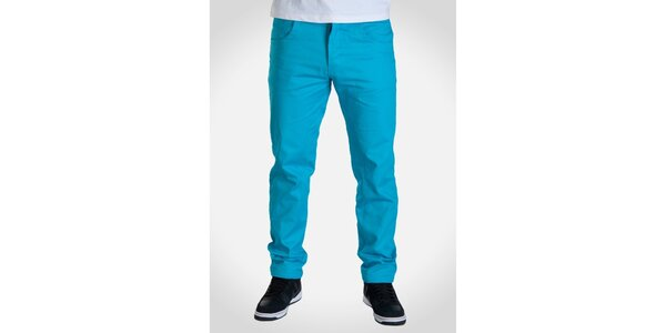 Pánské tyrkysově modré kalhoty Skank