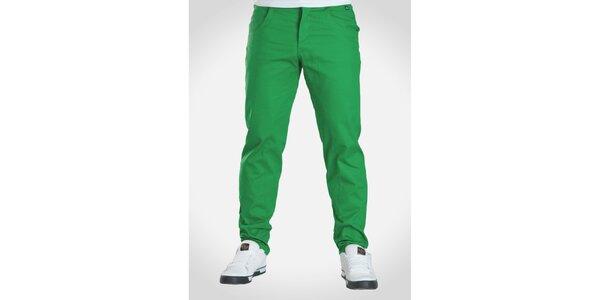 Pánské hráškově zelené kalhoty Skank