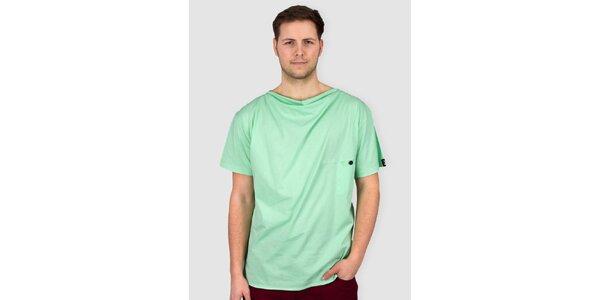 Pánské světle zelené tričko s knoflíkem Skank