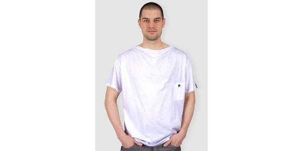 Pánské bílé tričko s knoflíkem Skank