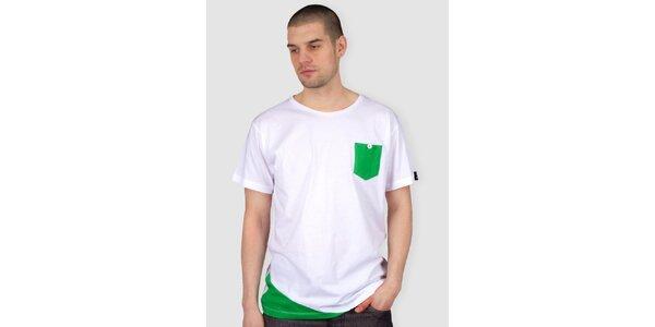 Pánské bílé tričko se zelenou kapsičkou Skank